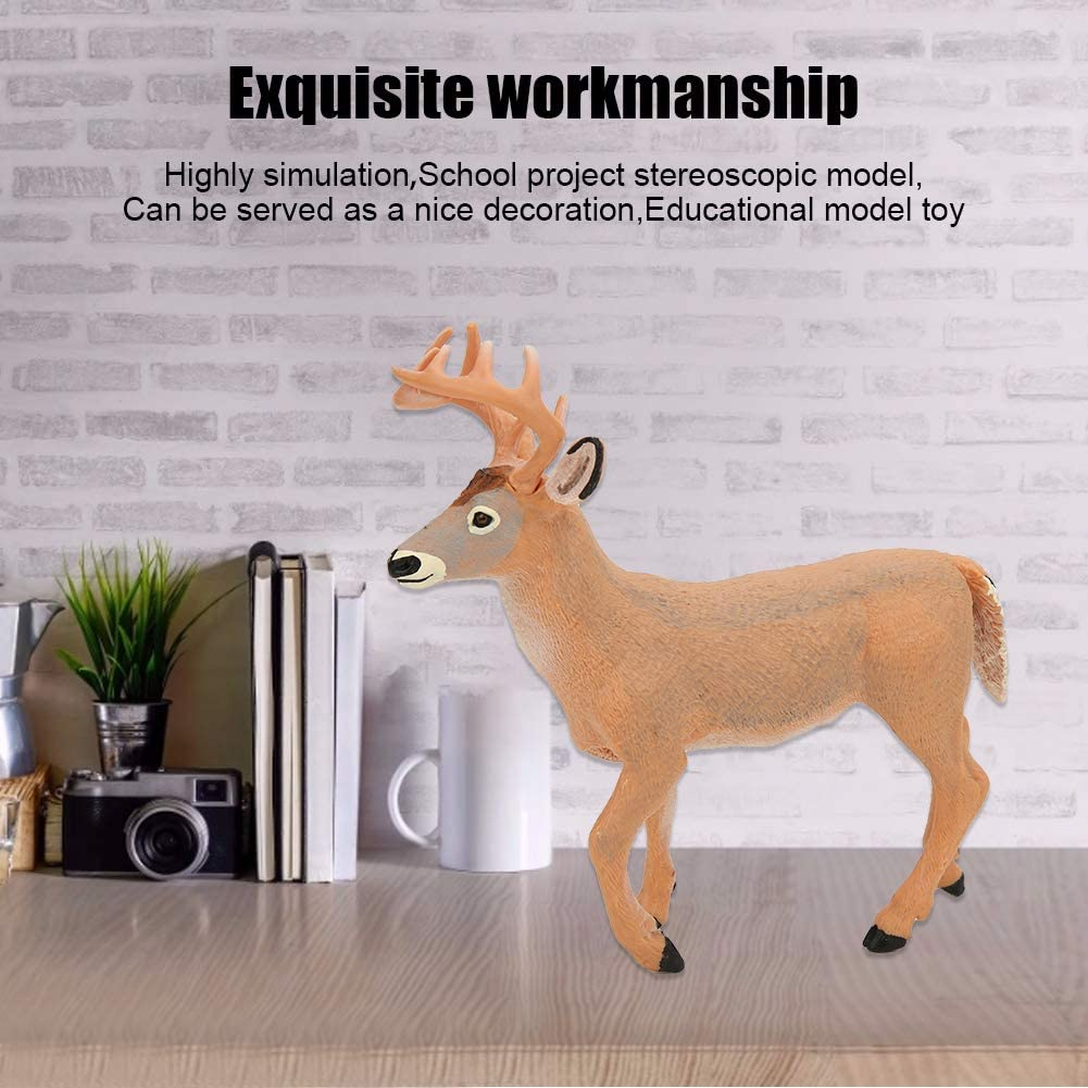 Tnfeeon Deer Figurines Toys Forest Animals Set Simulation Yellow White-Tailed Deer Model Ornaments Desktop Decoration Birthday for Kids