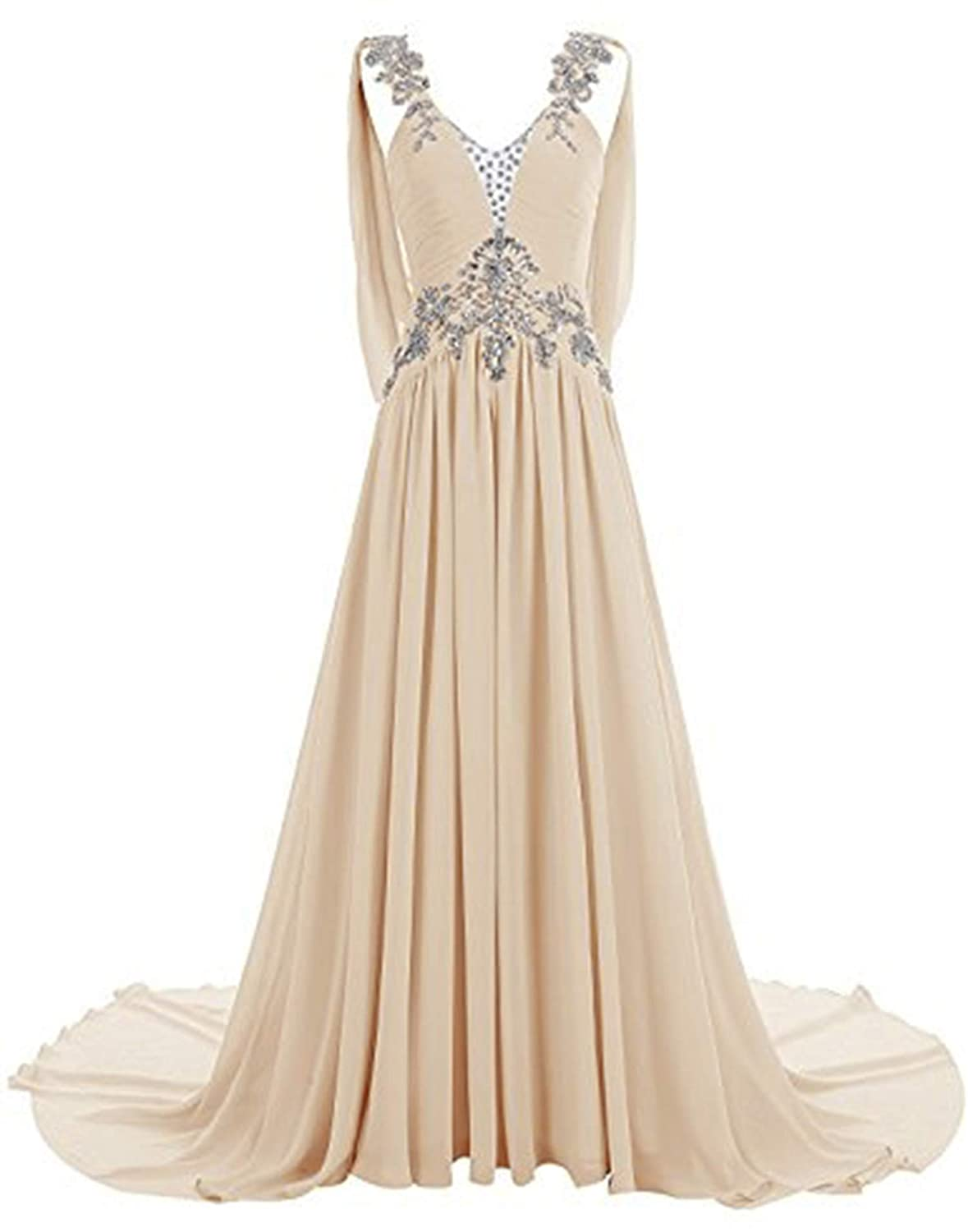 Champagne CL Bridal Women's Beaded Rhinestones Straps V Neck Court Train Bridesmaid Dress