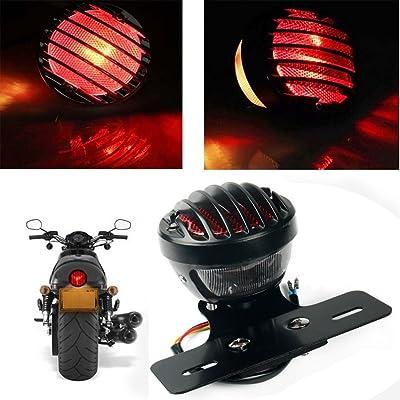 KATUR 1PCS Motofans Black Round Metal Motorcycle Tail Brake Light for Harley Bobber Chopper Custom April IA Mana: Automotive