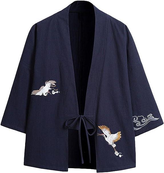 Herren Japanische Kimono Jacke Leinen Baumwolle Strickjacke Locker Mantel Retro