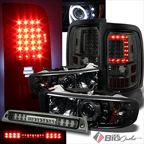 Xtune For 1994-2001 Dodge Ram Smoked Halo Projector Headlights + V2 LED Tail Lights + LED 3rd Brake Lamp 1996 1997 1998 1999 (Dodge Projector Halo Ram 01)