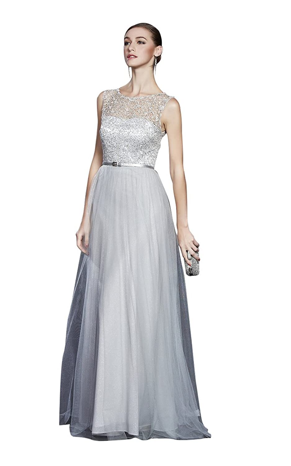 Beauty-Emily Sash Sequined Lace O-Neck Sleeveless Evening Gowns