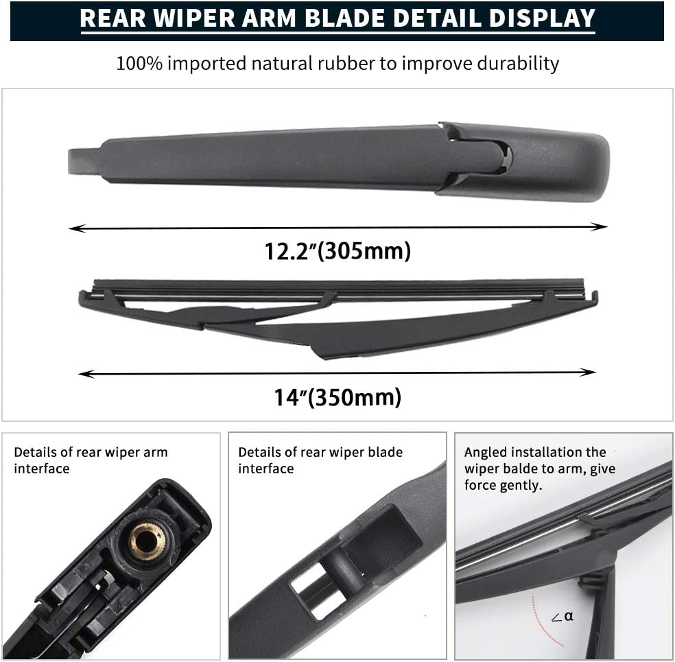 Back Windshield Rear Wiper Blade Replacement 85242-42040 10 Inches MIKKUPPA Replacement for Toyota RAV4 Rear Wiper Blade 2013-2017