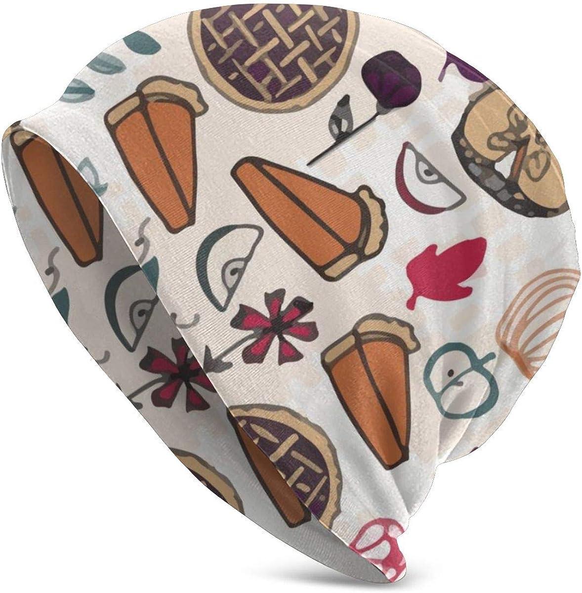 Beanie Men Women Thanksgiving Pumpkin Apple Pie Warm Skull Knit Hat Unisex Slouchy Soft Headwear Cuffed Cap Black
