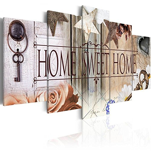 (AWLXPHY Decor-Large 5 Panels Home Sweet Home Canvas Wall Art Print Painting Framed for Kitchen Room Decoration Modern Still Life Love Stretched Artwork Giclee Wedding Gift (Beige, 80
