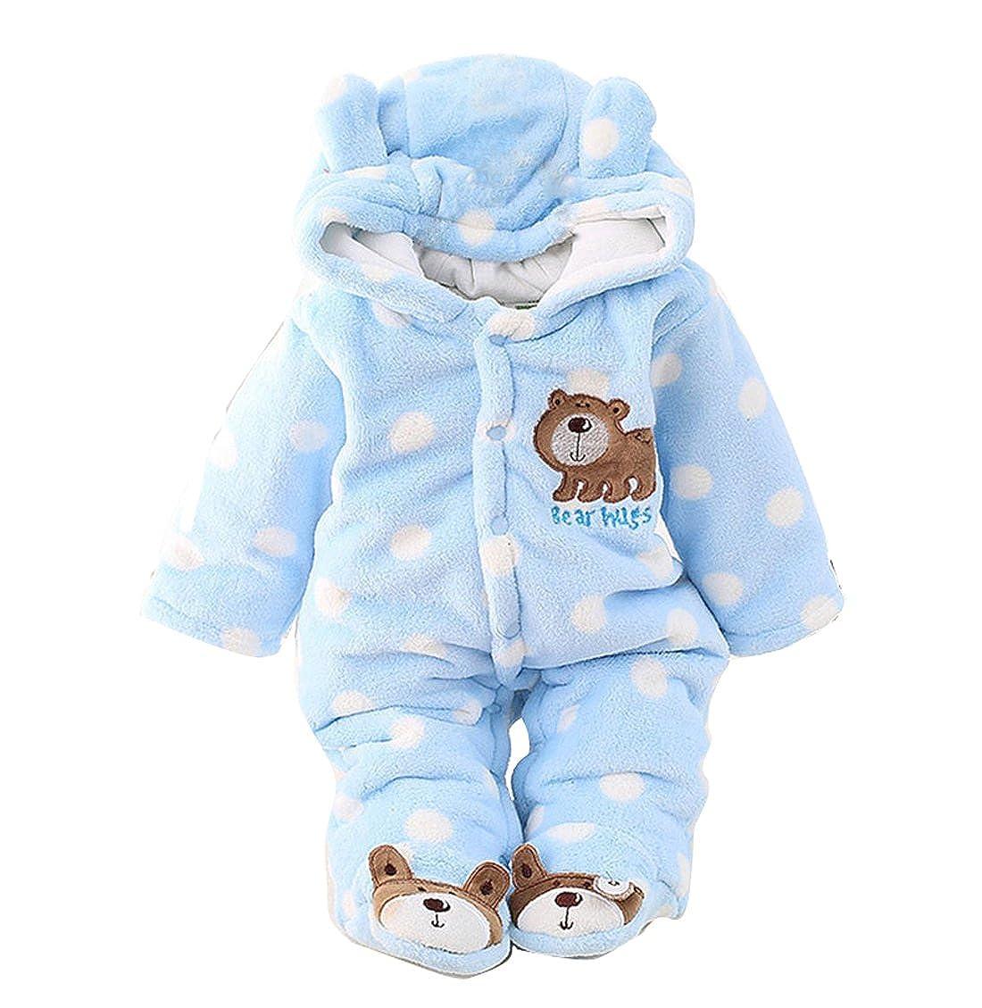 Gaorui Newborn Unisex Baby Winter Jumpsuit Hooded Romper Fleece Onesie All in One Snow Suit Outfits