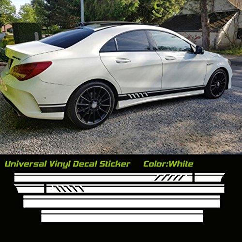 MountainValleyClimber Universal Car Racing Body Side Stripe Skirt Roof Hood Decal Sticker for All Cars Vinyl Bumper Decal(4Pcs) (White)