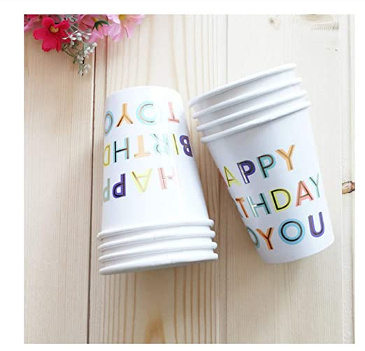 SDRTYHJ 8pcs / Set Blanco Feliz cumpleaños Vajilla ...