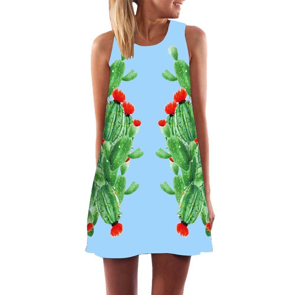 Vest Dress for Girls,Women Loose Summer Vintage Sleeveless 3D Floral Print Bohe Tank Short Mini Dress,Blue,M