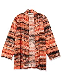 Kasper Womens Sunset Waves Printed Knit Jacquard Hi-lo Shrug Cardigan Sweater