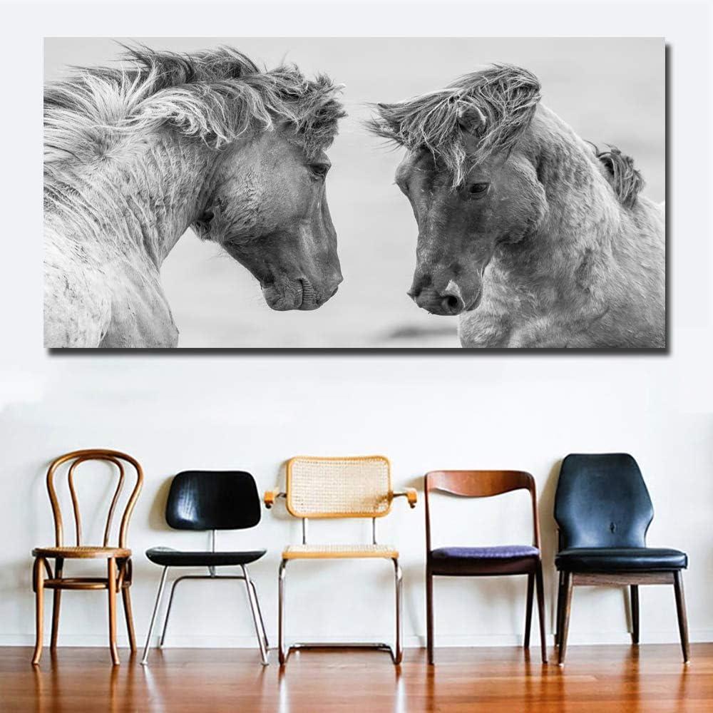 hetingyue Arte de Pared de Lona sin Disfraz Animal Raza Caballo Imagen en Blanco y Negro decoración del hogar Sala de Estar Pintura sin Marco 30x60cm