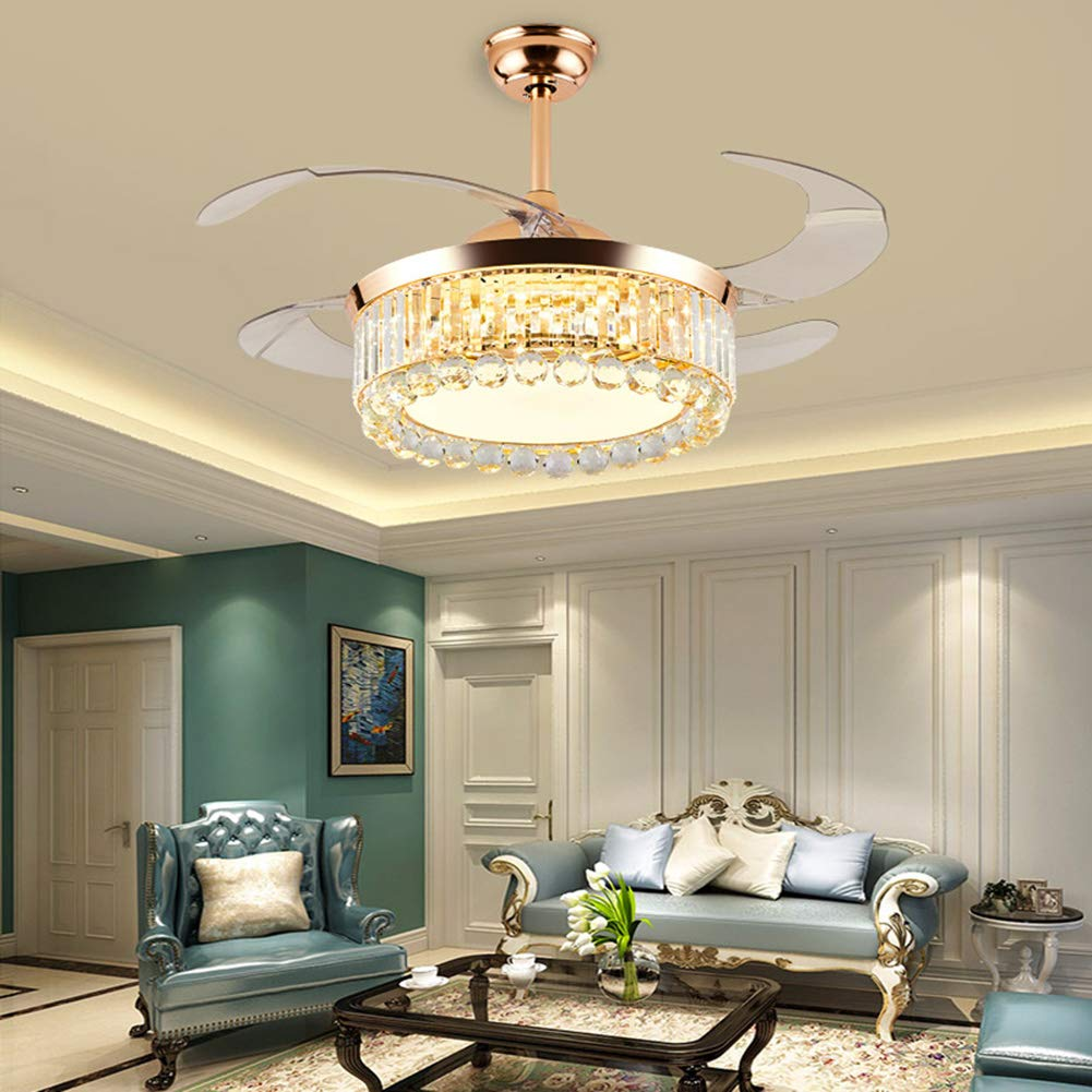 MoreChange 42 inch Crystal Ceiling Fan with Light and Remote Control, Modern Gold Retractable Chandelier Fans Lighting 3 Color Dimmable for Living Dining Room Bedroom