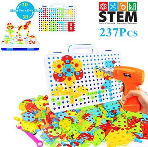 237 Pieces Electric DIY Drill Educational Set, STEM Learning Toys, 3D Construction Engineering Building Blocks for Boys and Girls Ages 3 4 5 6 7 8 9 10 Year Old, Creative Games and Fun Activity