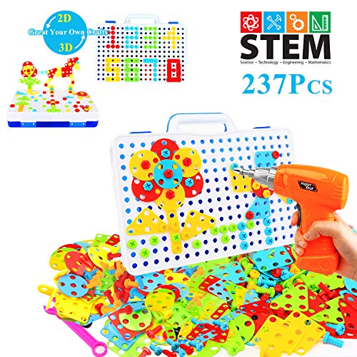 HAPTIME STEM Learning Toys, Construction Engineering Building Block Games with Toy Drill & Screw Driver Tool Set (237…