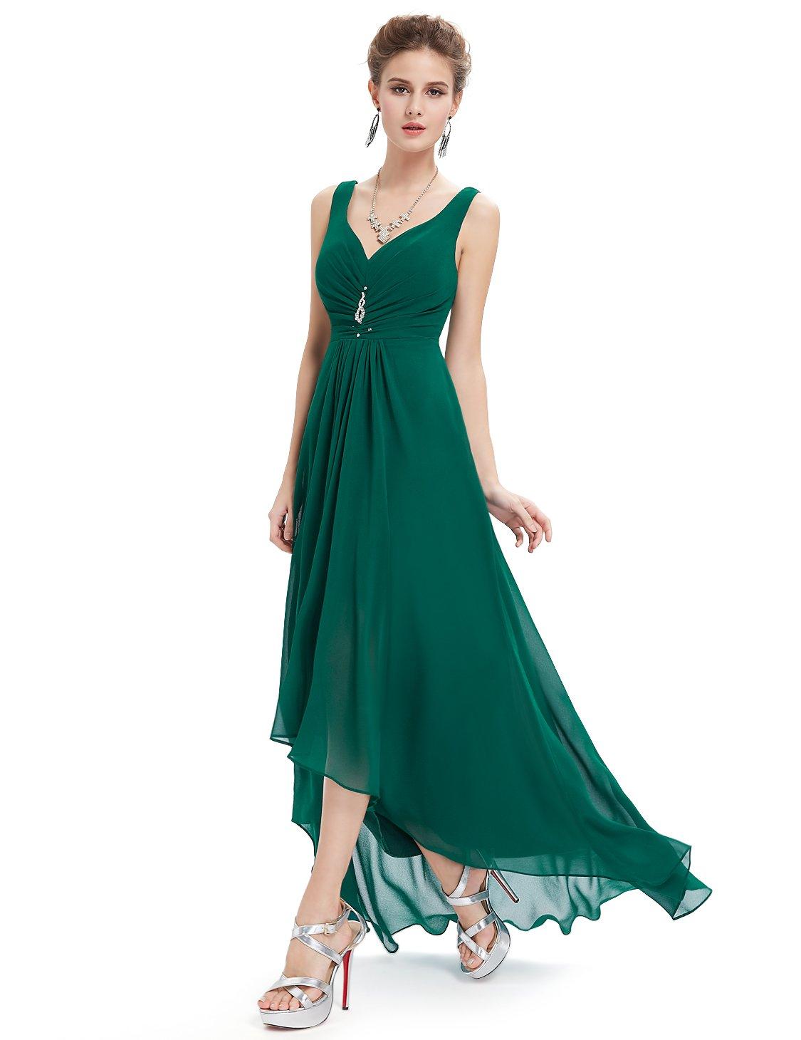 Ever-Pretty Juniors V-Neck Ruched Waist Long Winter Formal Dress 10 US Dark Green