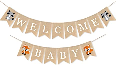 Amazon Com Woodland Welcome Baby Burlap Banner Fox Welcome Baby Banner Woodland Creatures Banner Fawn Forest Animal Friends Garland For Baby Shower Party Supplies Decorations Toys Games