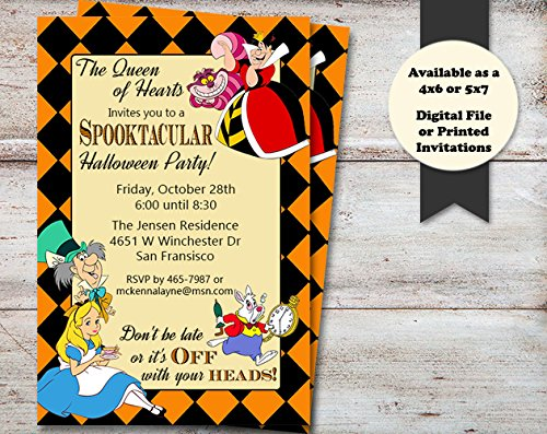 Alice In Wonderland Halloween, Costume or Birthday Party Invitation, Set of 10 5