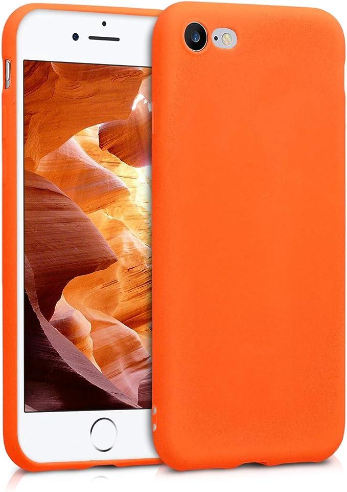 Image ofkwmobile Funda Compatible con Apple iPhone 7/8 / SE (2020) - Carcasa de TPU Silicona - Protector Trasero en Naranja neón