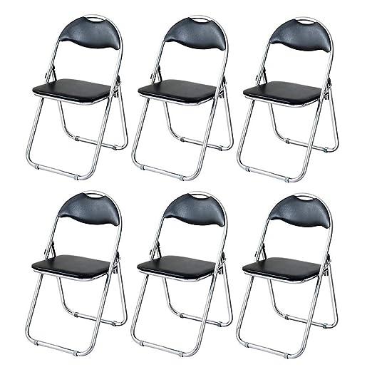 TLMYDD Silla de Oficina Plegable cómoda Silla Suave Engrosamiento de Cuero 6-Pack Silla (Color : Black): Amazon.es: Hogar