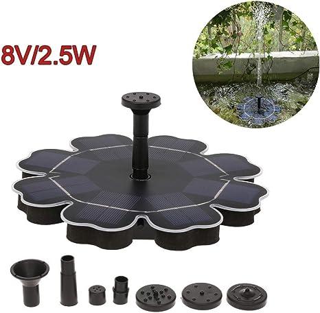 LXDDP Fuente Solar Bomba 2.5W Bomba Agua Solar Fuente Flotante con 4 boquillas para baño Aves Estanque Peces Estanque jardín: Amazon.es: Deportes y aire libre