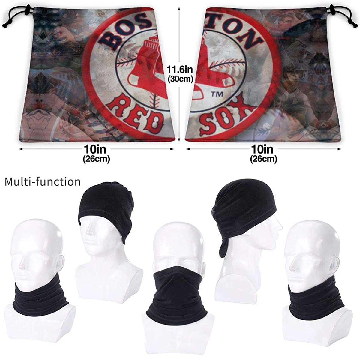 Boston Red Sox Summer Neck Gaiter Face Cover Mouth Cover Face Scarf Cool Bandanas Sun Uv Dust Windproof Scarf for Outdoors for Unisex