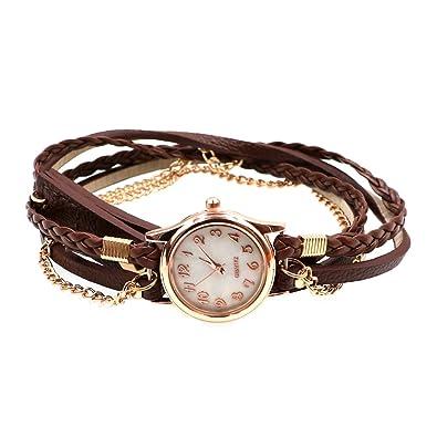 Pulsera de Reloj Muñeca Tejen Envoltura Cadena Vintage Mujer Damas Cuero Marrón