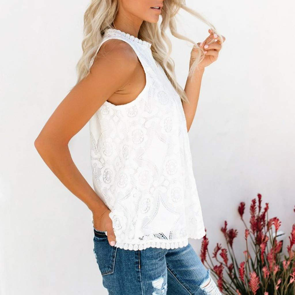 Summer Womens Tops Casual Sleeveless Blouse Tops Lace Flowy Loose Shirts Tank Tops