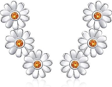 Hypoallergenic Flower earrings Daisy earrings silver plated