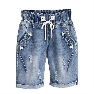 Pantalones Cortos de Mezclilla de Verano Pantalones Cortos de Jeans Femenino Cintura elástica más tamaño Moda Casual Agujero Suelto Pantalones Cortos de Mezclilla con Bolsillos: Ropa y accesorios