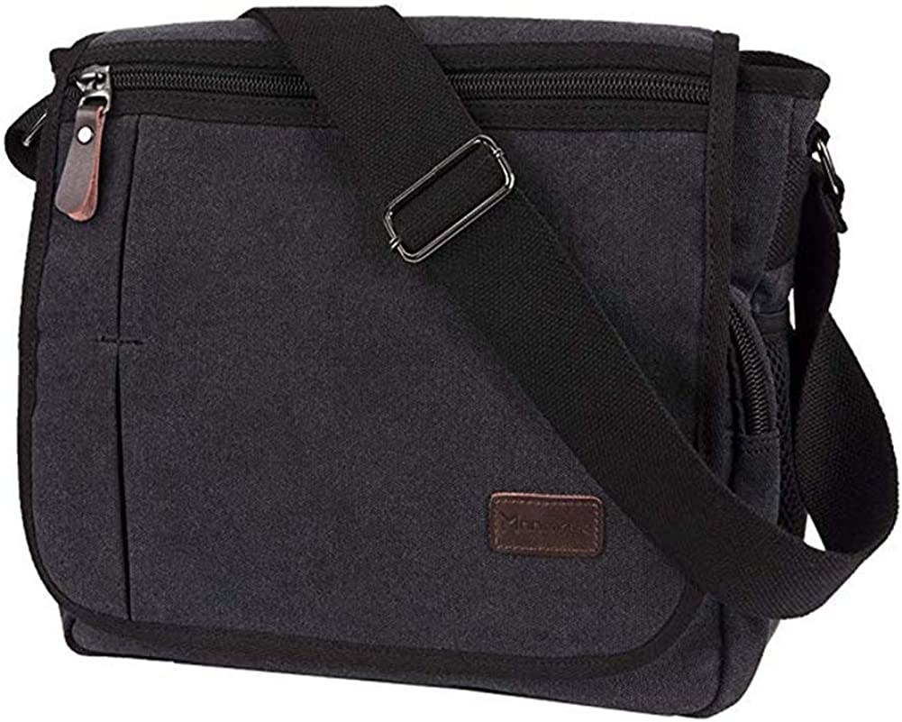Modoker Messenger Bag for Men, 13 Inches Laptop Satchel Bags, Canvas Shoulder Bag with Bottle Pocket
