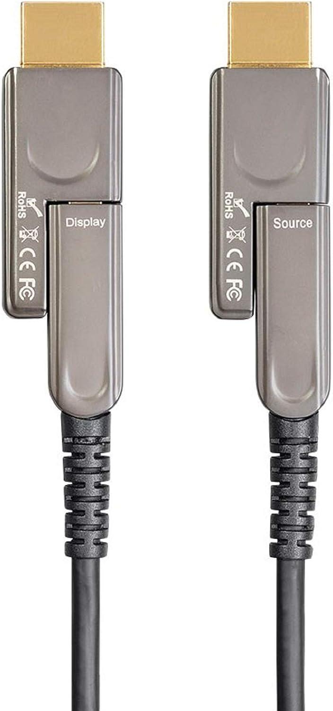 Monoprice HDR High Speed HDMI Cable - 30 feet - Black   with Detachable Connectors - 4K @ 60Hz, HDR, 18Gbps, Fiber Optic, AOC, YUV 4:4:4, CMP, Plenum, ARC - SlimRun AV Series