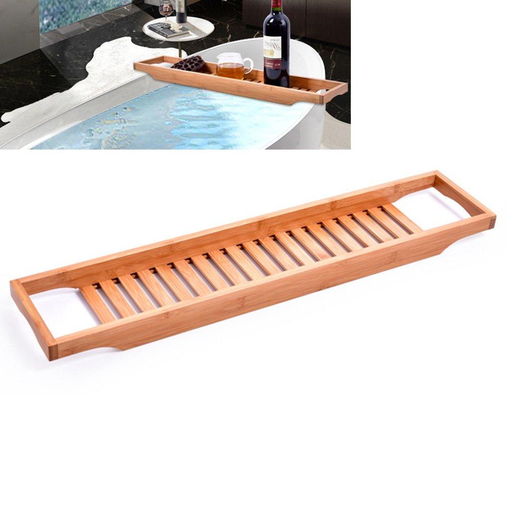 BESTOMZ Bamboo Bathtub Caddy Bathroom Organizer Rack for Bathroom