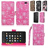 Cellularvilla Wallet Case for Amazon Fire Phone Pu Leather Wallet Card Flip Open Pocket Case Cover Pouch (Pink Glitter)