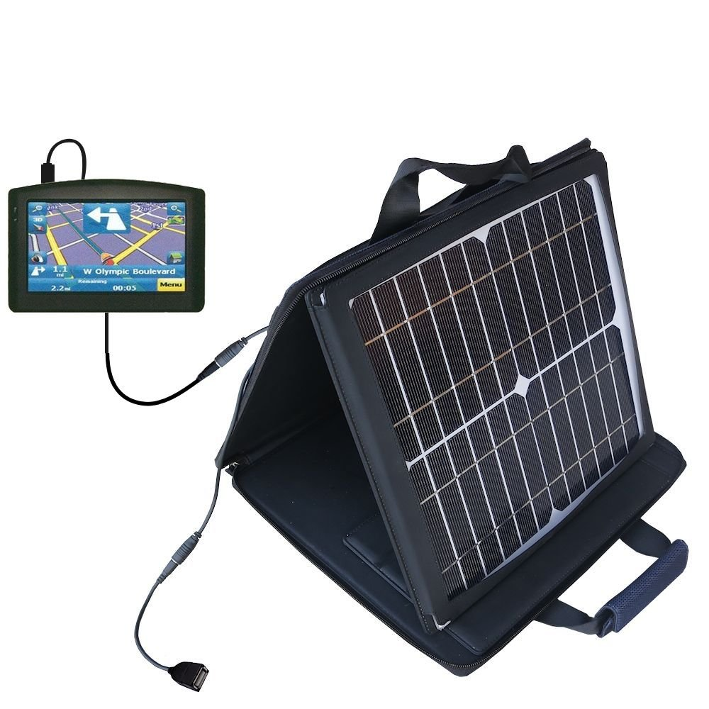 Gomadic SunVolt Powerful and Portable Solar Charger suitable for the Maylong FD-420 GPS For Dummies - Incredible charge speeds for up to two devices