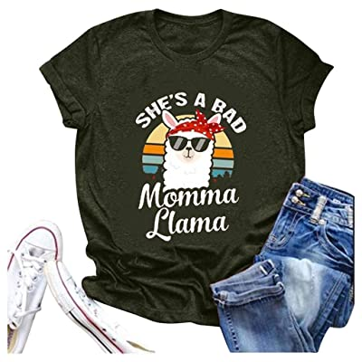 Shakumy She's A Bad Momma Llama T-Shirt Women Funny Cute Letter Printed Graphic Summer Short Sleeve Casual Tee Tops Blouses at Women's Clothing store [5Bkhe1400612]