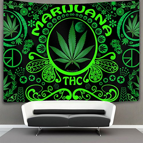 HOMESTORES celebration marijuana leaf weed Wall Tapestry Hippie Art Tapestry Wall Hanging Home Decor Extra large tablecloths 40x60 inches For Bedroom Living Room Dorm Room