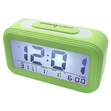 EASEHOME Despertadores Digitale, Reloj Despertador Digital con Pantalla LCD Calendario Temperatura Despertador Electrónico Silencioso para Niño Repetición ...