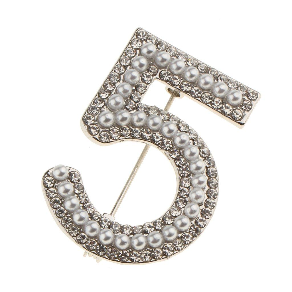 Baoblaze 2 Piezas Broche de Joyer/ía N/úmero 5 de Perlas Diamantes de Imitaci/ón