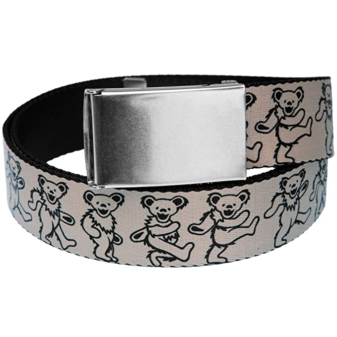 e2c5c60e79 Amazon.com: Grateful Dead - Dancing Bears White Web Belt: Clothing