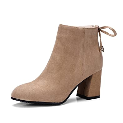 4487cf7b0f5 Oaleen Bottines Chelsea Femme Hiver Effet Daim Chaussures Boots Fourrés  Talon Moyen Bloc Beige Camel 32
