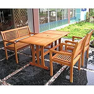 International Caravan Royal Tahiti Mallorca 4-Piece Patio Set in Stain