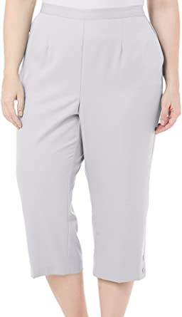 df98b668c8a Alfred Dunner Womens Plus Flat Front Pull On Capri Pants Silver 22W at Amazon  Women s Clothing store