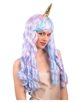 Horror-Shop peluca del unicornio con el cuerno