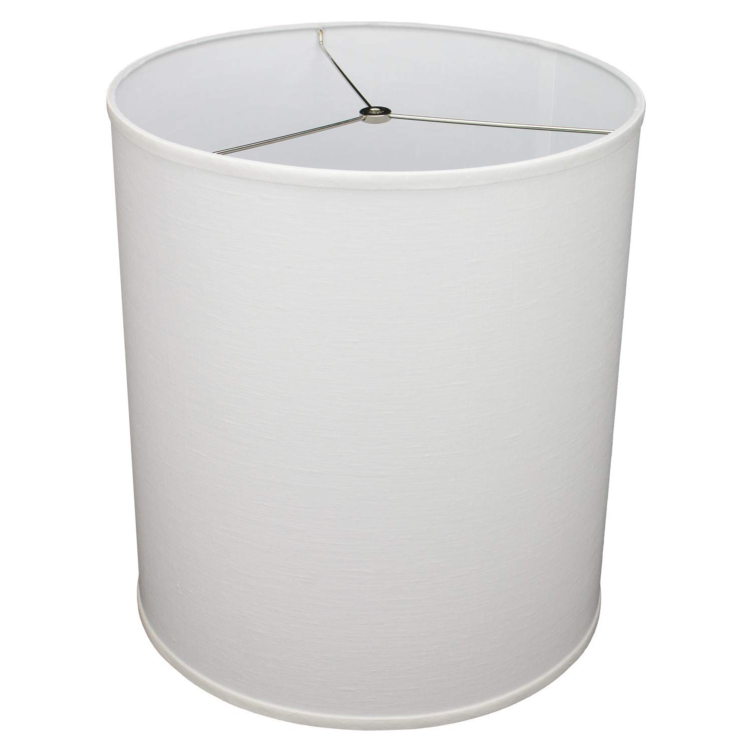 FenchelShades.com 16'' Top Diameter x 16'' Bottom Diameter 18'' Height Cylinder Drum Lampshade USA Made (Designer Linen Off White)