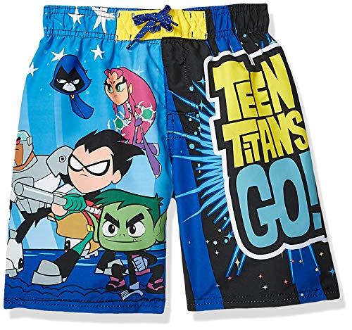 Warner Brothers Little Boys' Teen Titans Go Swim Short, Blue/Black, 5/6 (Shoes Teen Go Titans)