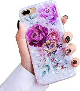 Qokey for iPhone 8 Plus Case,iPhone 7 Plus Case 5.5 inch Flower Pattern Cute Stand Cover for Women Girls 360 Degree Rotating Ring Stand Holder Kickstand Soft TPU Shockproof Purple Flower