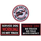 Antrix 3 Pieces Morale Dog Patch Please Don't PET ME I'm Working Service Dog Working Do Not Touch Service Dog No Touch No Talk No Eye Contact Full Embroidered Morale Patch for Dogs and Pets