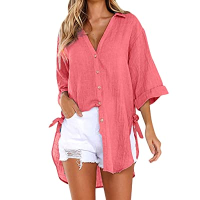 Womens Plus Size Solid Color Seven-Quarter Sleeve Crew Neck T Shirts Office Work Casual Blouses Tops at Women's Clothing store