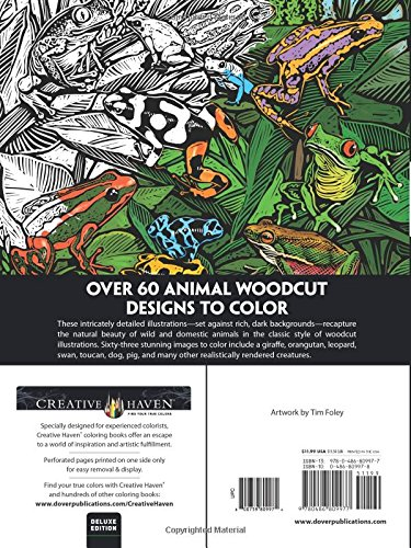 Amazon Creative Haven Deluxe Edition Animal Woodcut Designs Coloring Book Adult 0800759809974 Tim Foley Books