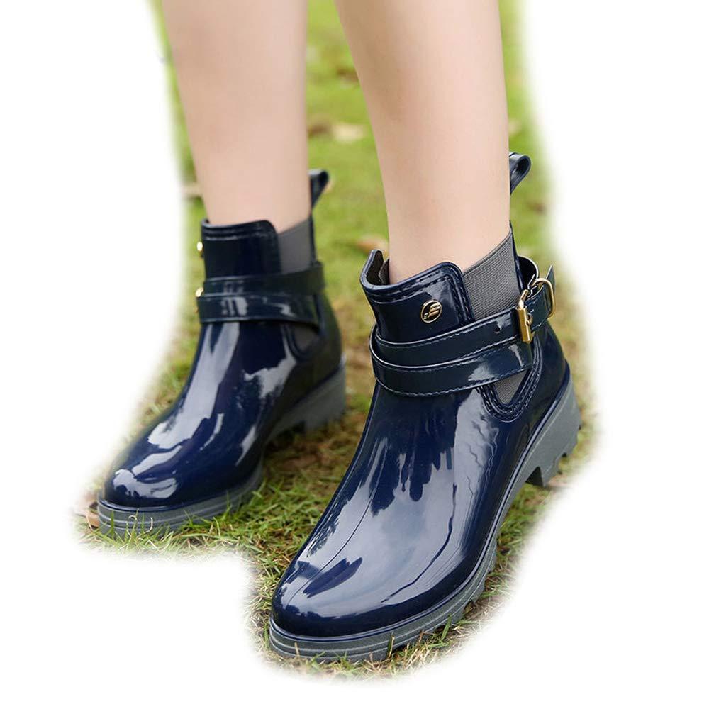 Magone Womens Flat Slip On Rain Boots Fashion Rain Shoes